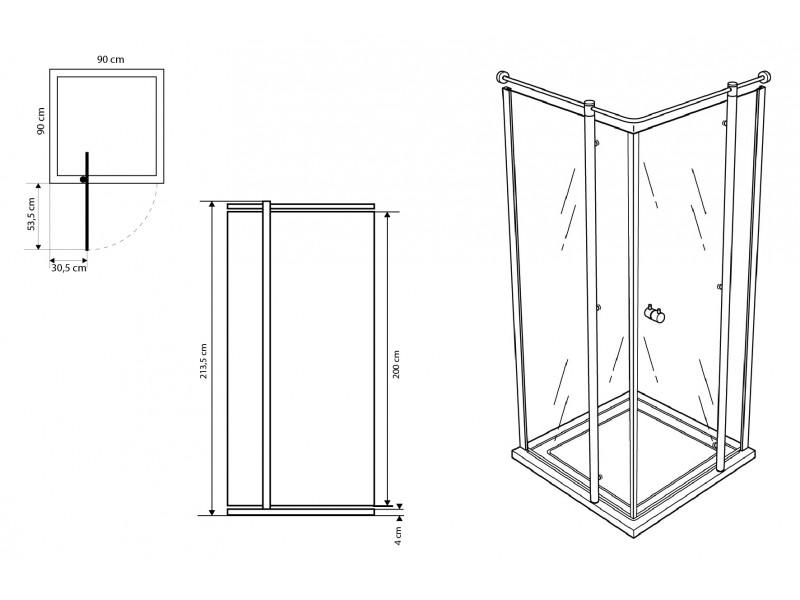 Douchecabine 100 X 90.Boston Douchecabine 90 X 90 Design Point Woonaccessoires Badkamer Accessoires Tegen Hoge Kortingen