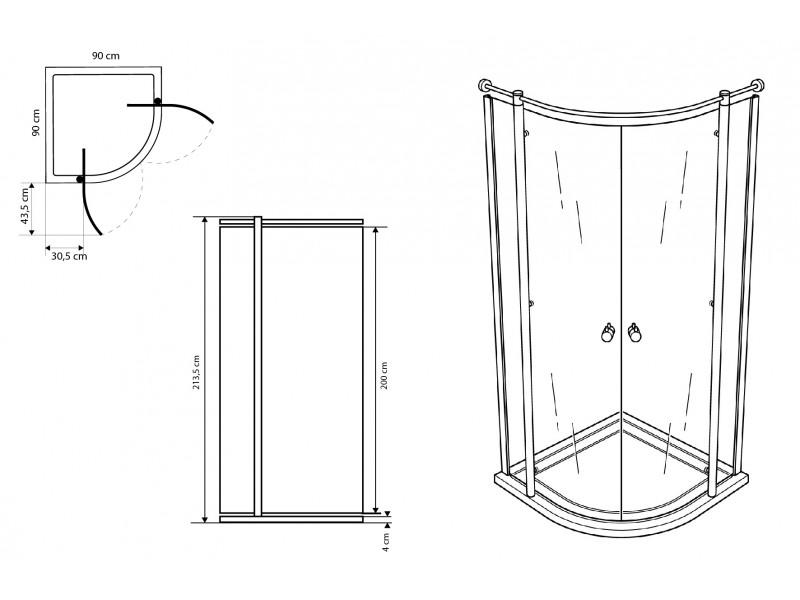 Douchecabine 100 X 90.Boston Douchecabine Kwartrond 90 X 90 Design Point Woonaccessoires Badkamer Accessoires Tegen Hoge Kortingen
